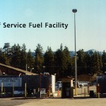 Photograph of the Big Bear Airport self-serve fuel area.